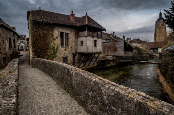 A walk in Arbois wine city in jura, france