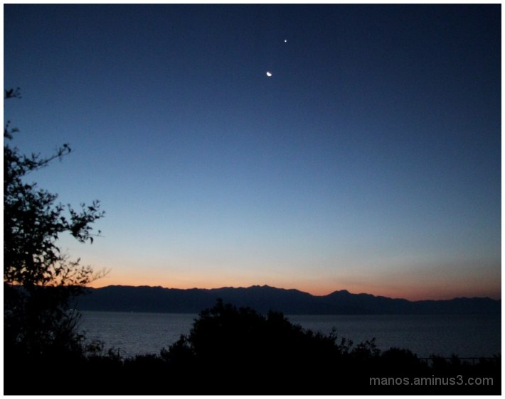 Dawn, with the moon and the morning star