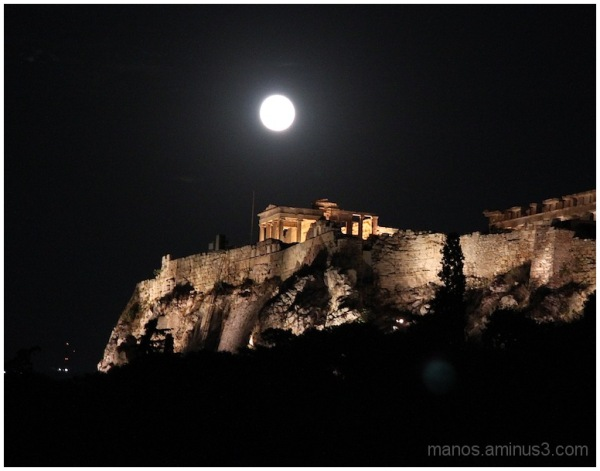 Acropolis and the full moon