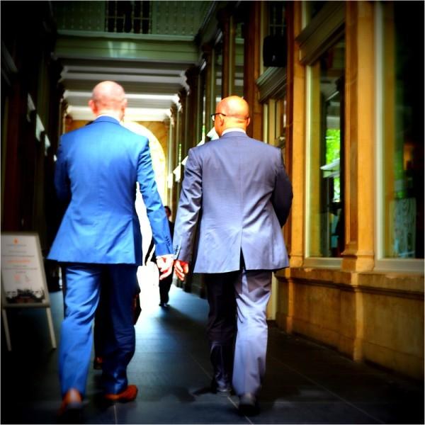 Men in blue...