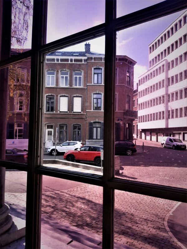through the windows...