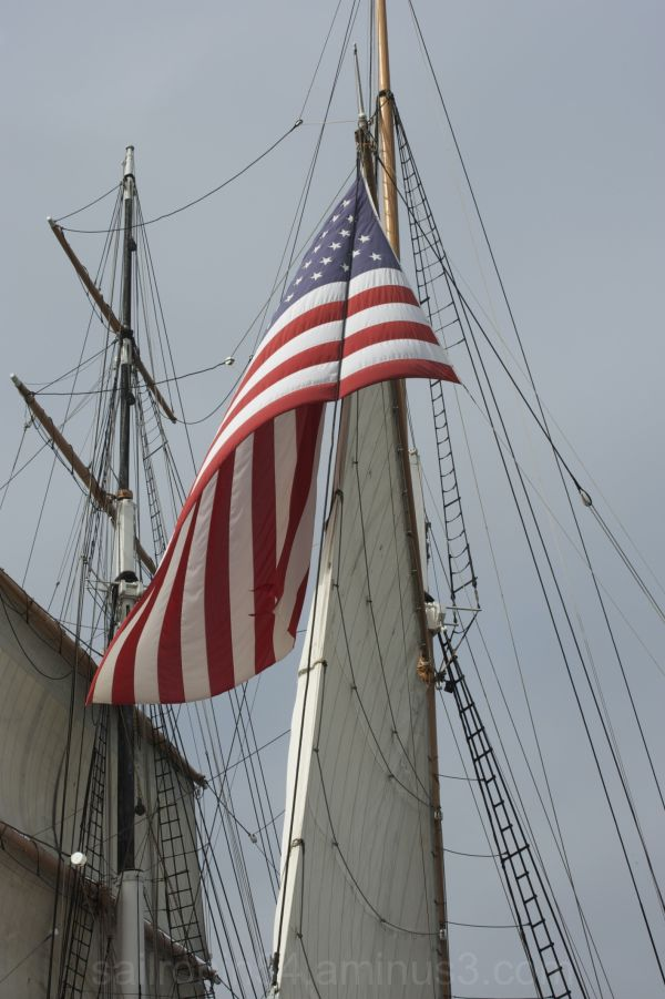 large american flag on the sail