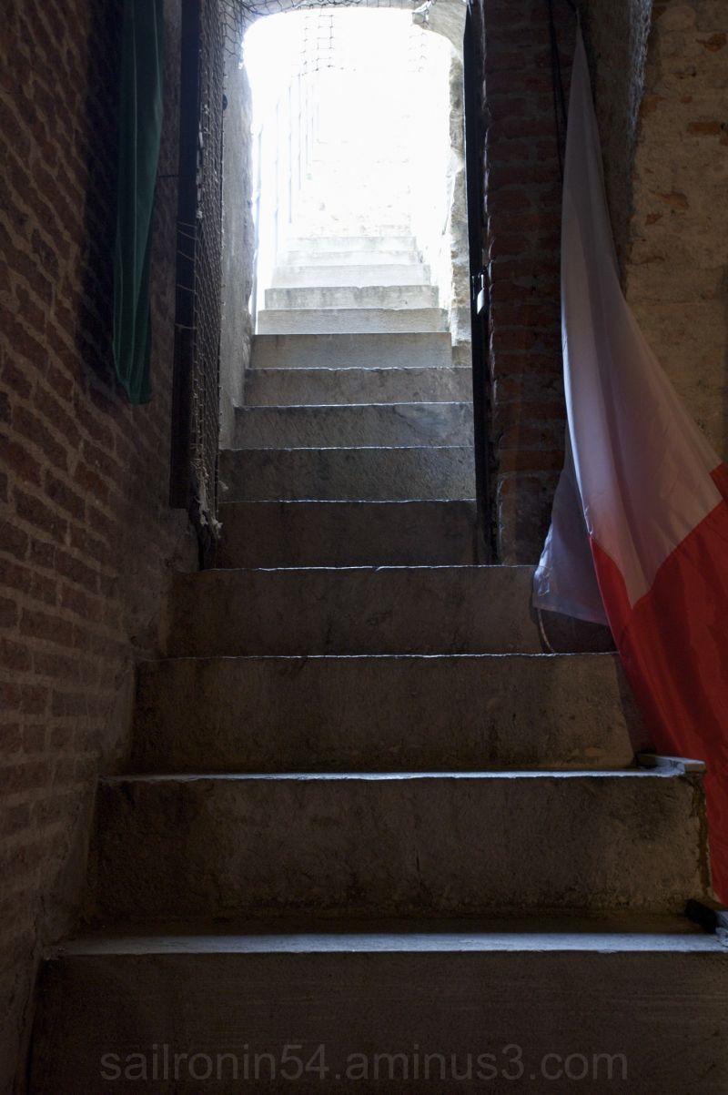 dark stairway leading to light