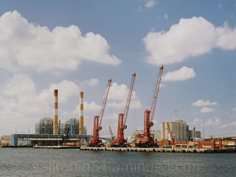 port of Palm Beach cranes and power plant