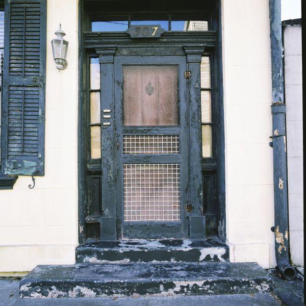 Green door 307 in Savannah Georgia