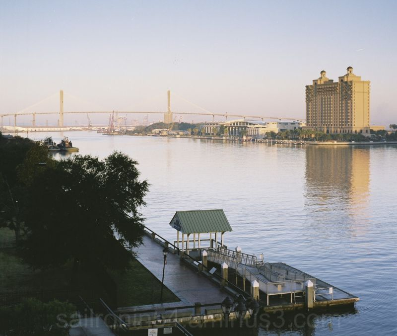 Savannah river in the fog with hotel