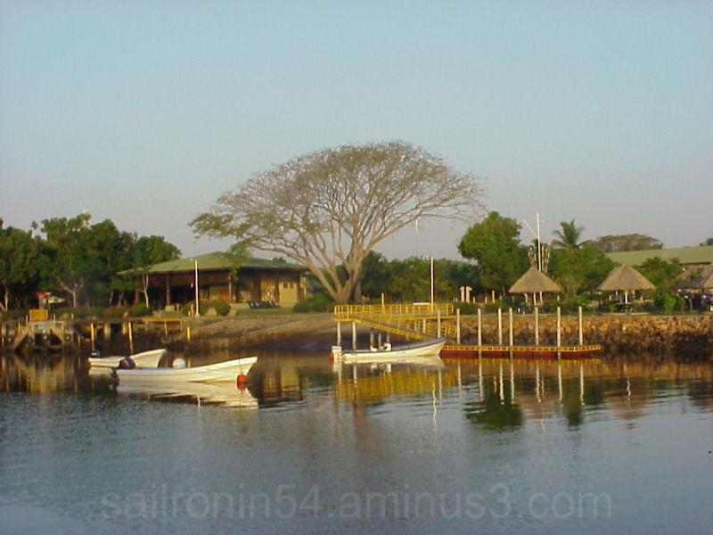 dinghy in from of Barillas marina, El Salvador