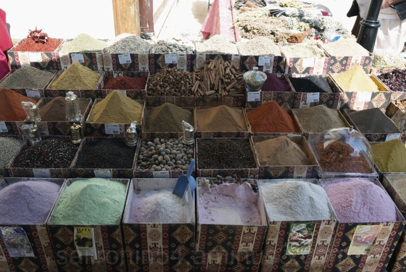 Flavored teas and spices at the market Antalya