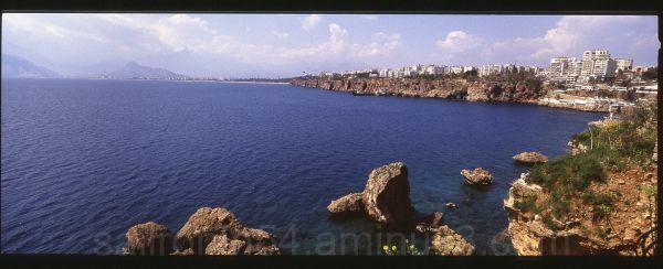 Antalya, Turkey coastline cliffs city blue water
