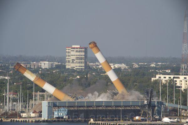 Power plant demolition Riviera Beach Florida tower