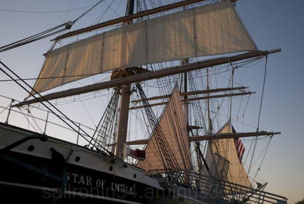 Square sail set on Star of India, San Diego