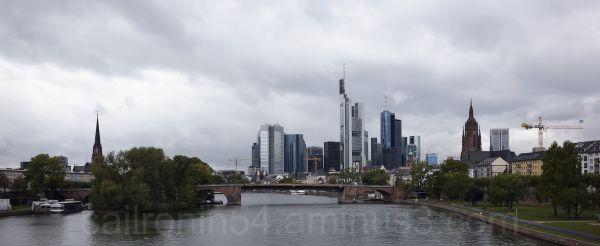 Frankfurt skyline from bridge on river Main