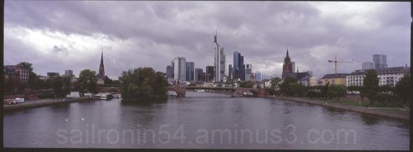 panorama Frankfurt Germany river Main water clouds