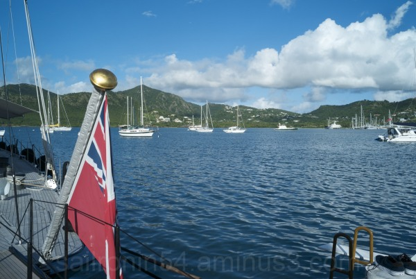 Anchored boats in Falmouth Harbour, Antigua