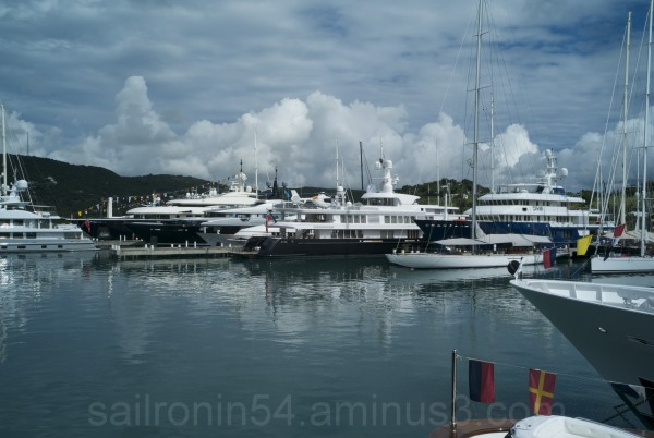 Large yachts at the Antigua charter yacht show