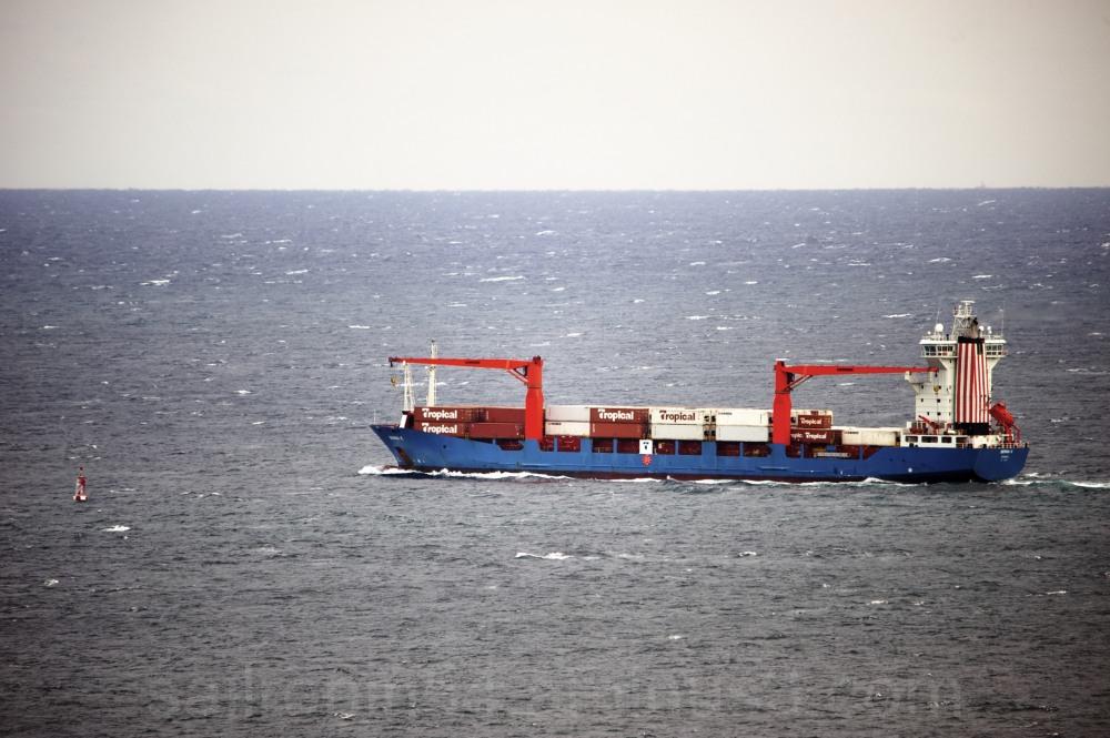 "Ship ""Berra K"" passing sea buoy at Palm Beach"