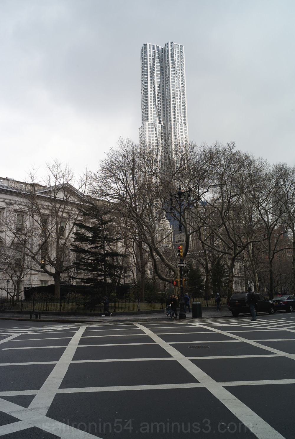 Tower at the park with crosswalk lines