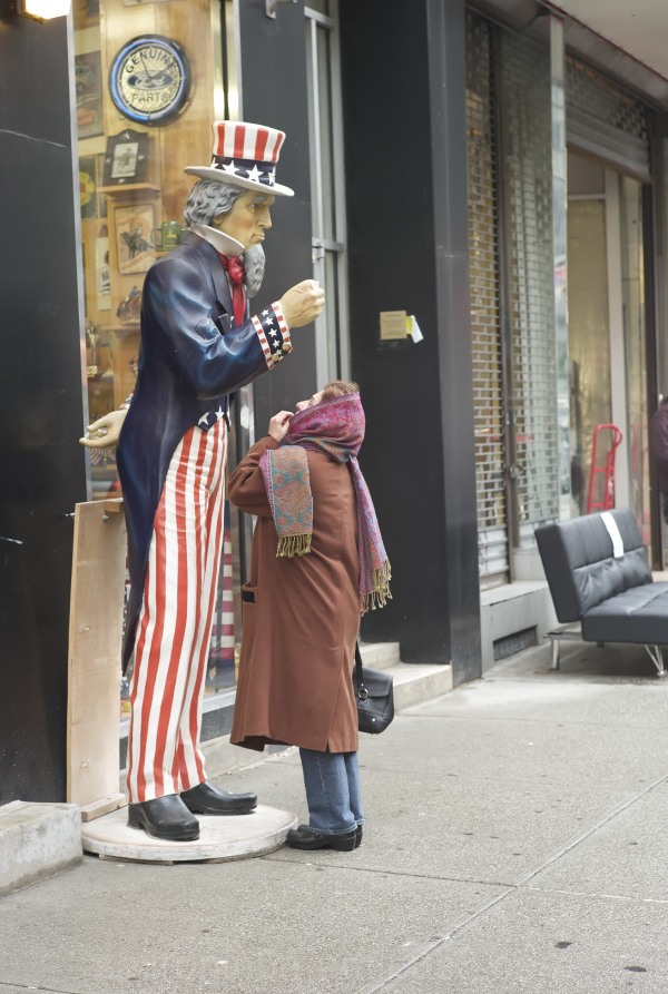 Meeting Uncle Sam on Manhattan street