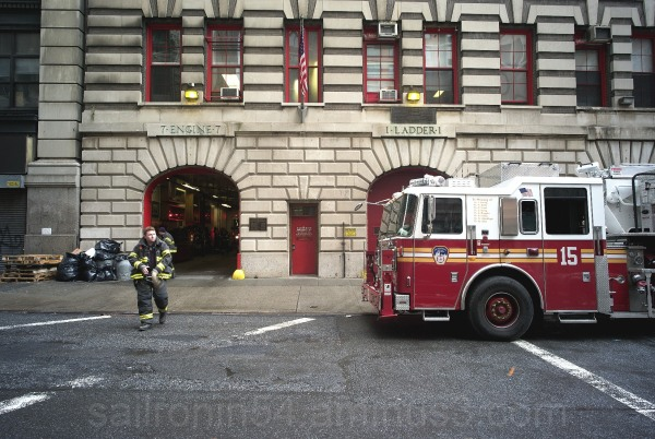 Fire man and fire truck in NYC