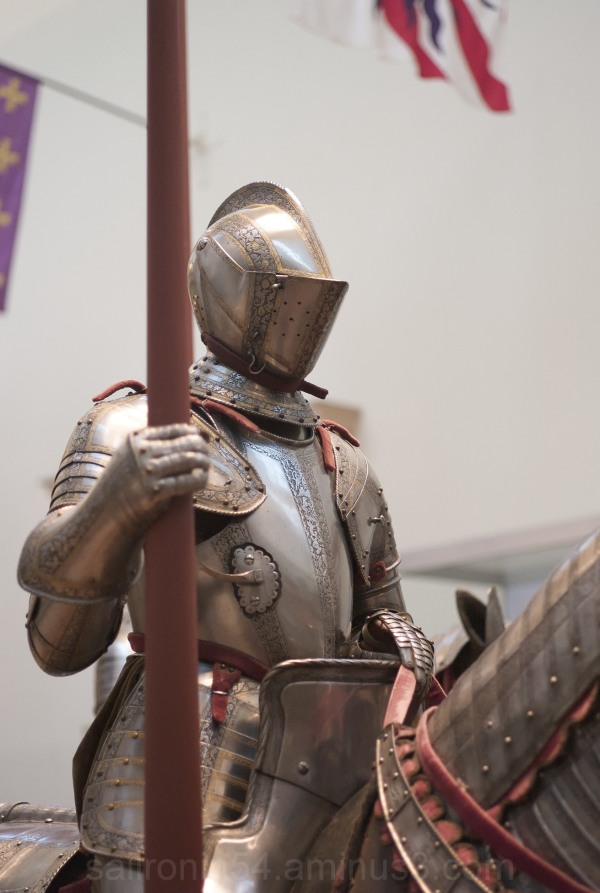 Knight in armor on horse in NY Met Museum of Art