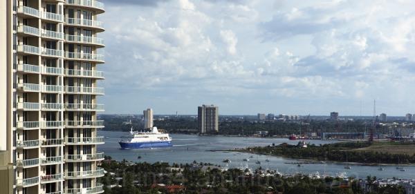 Ship leaving Lake Worth Inlet, Palm Beach