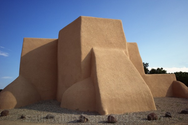 Famous Rancho Taos church in evening light