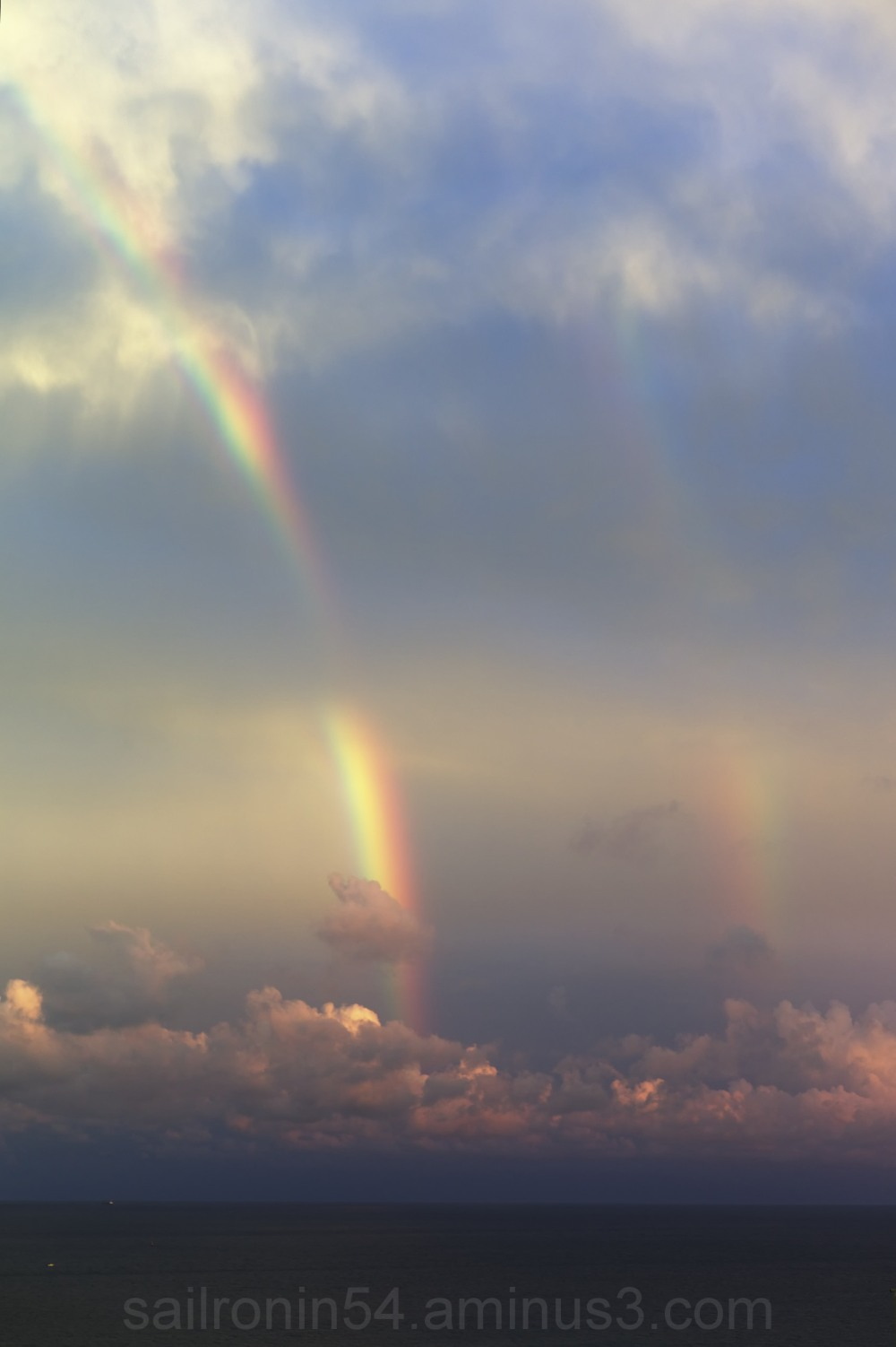 Rare double rainbow off Palm Beach Florida