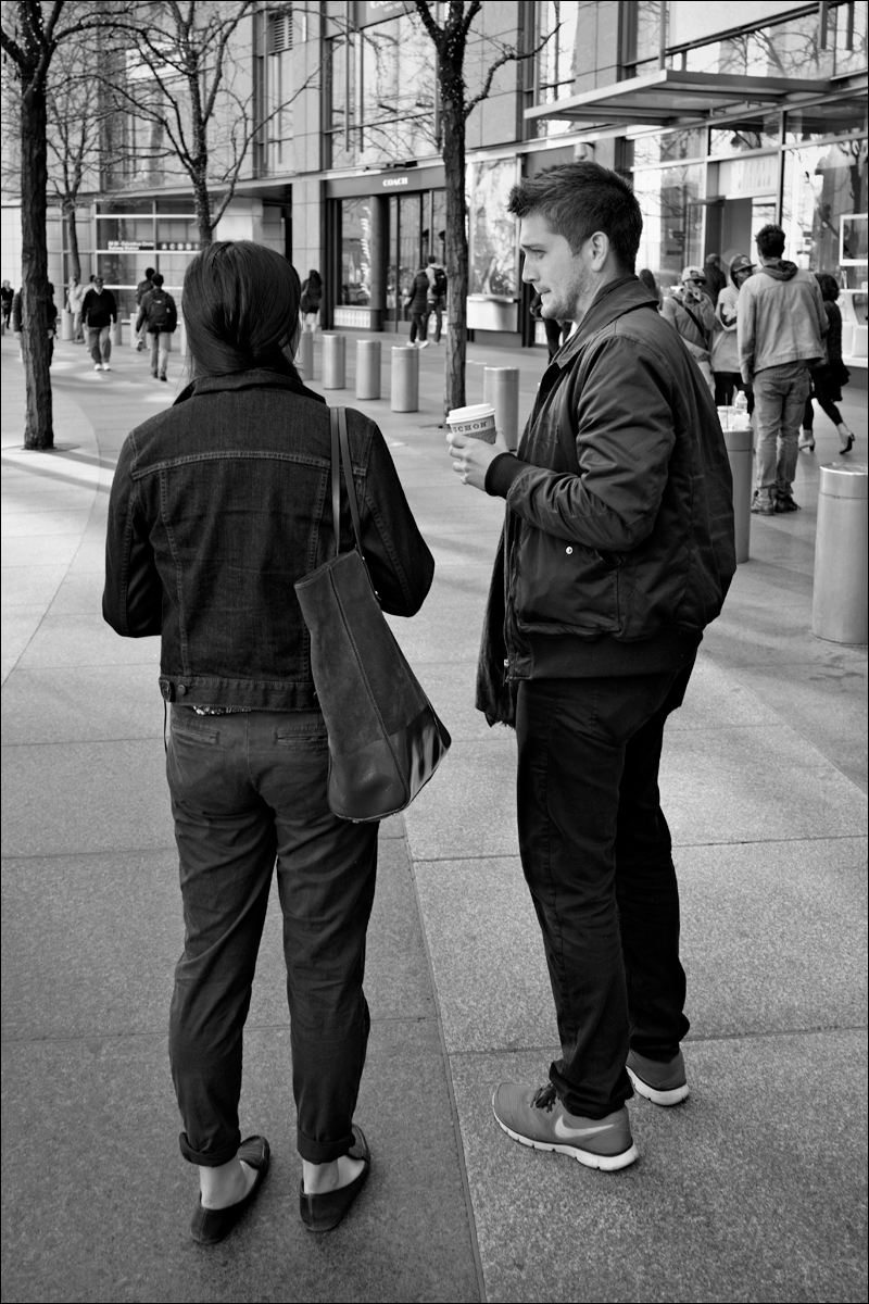 Coffee conversation near Columbus Circle
