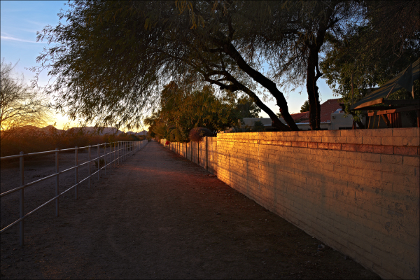 Horse trail at sunset, No. 2
