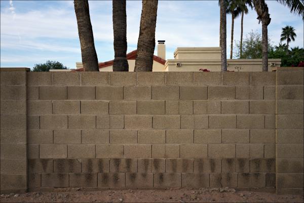 Cinderblock Wall at sunset