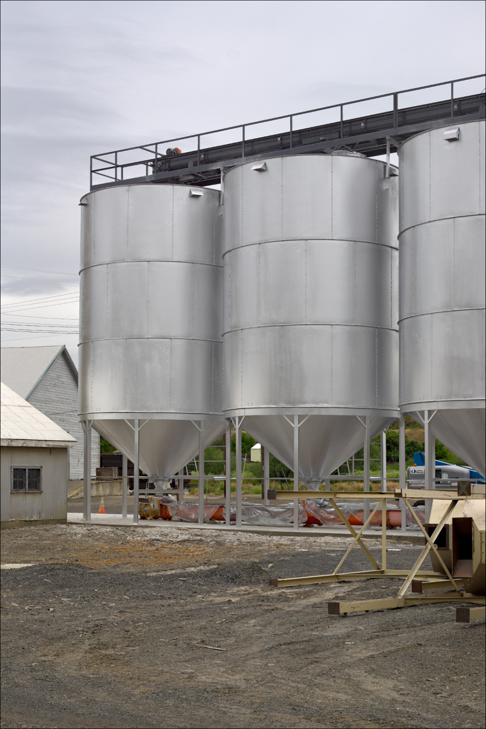 Freshly painted storage silos
