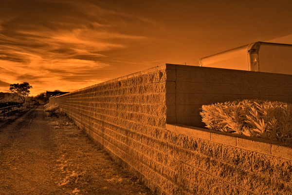 Cinderblock fence