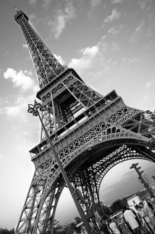 Eiffel Tower in black & white, Paris, France