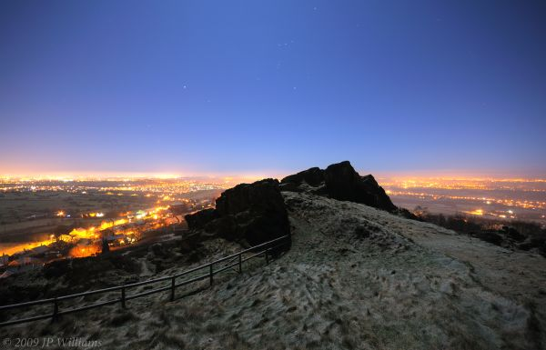 City lights panorama taken from Mow Cop at night