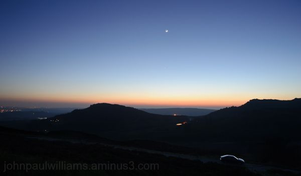 Night falls over Hen Cloud & The Roaches