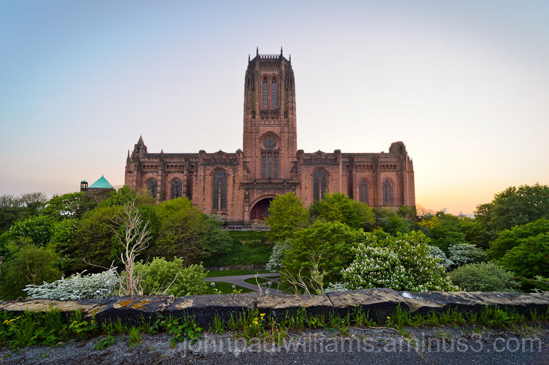 Liverpool Anglican Cathedral at dusk