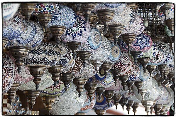 Many hand-made lanterns hanging in Kusadasi Turkey