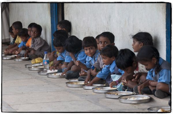 Children at Eve School all lined up during lunch.