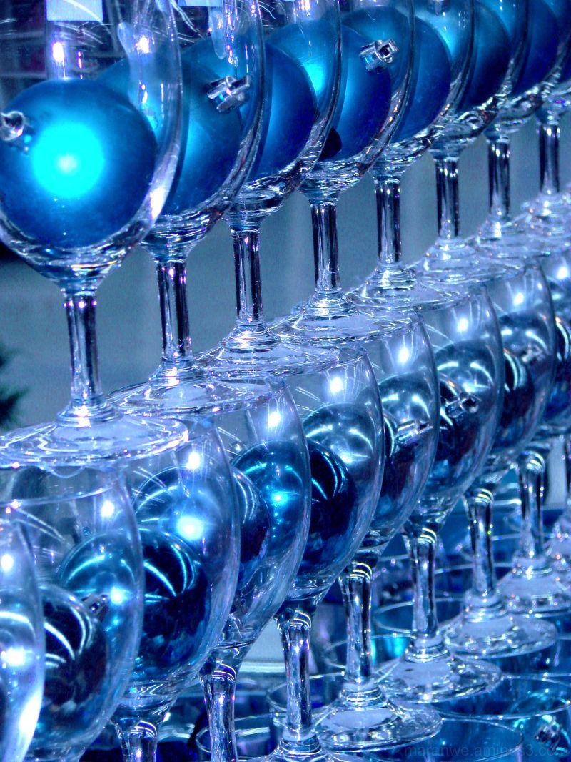 blue christmas balls in glass goblets