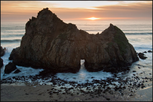 Sunset at Pfeiffer Beach Arch, Big Sur Coast