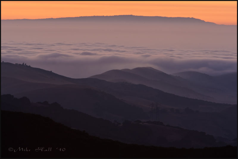 Twilight over fog approaching from Monterey Bay