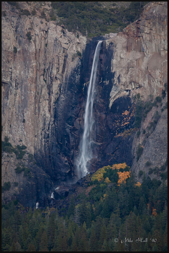 A fall color view of Bridal Veil Falls in Yosemite