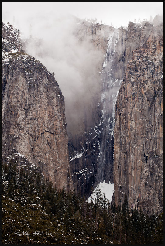 Yosemite Valley wall winter view