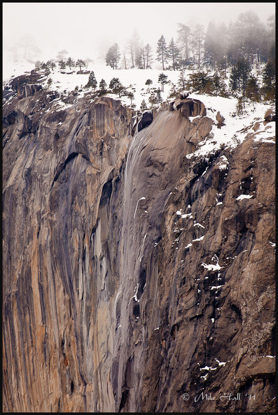 Winter view - Top of Horsetail Falls in Yosemite