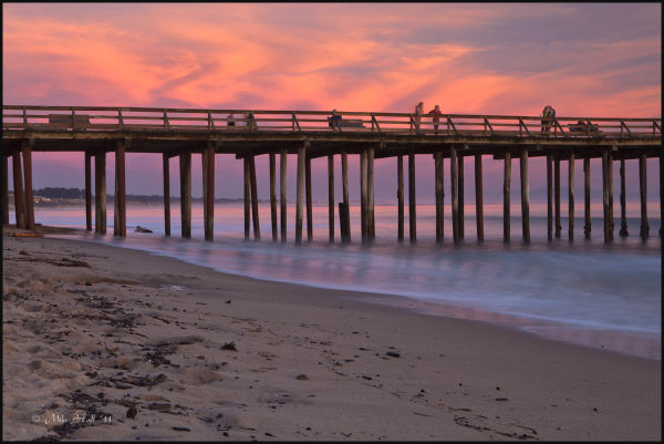 Sunset on the pier at Seacliff State Beach
