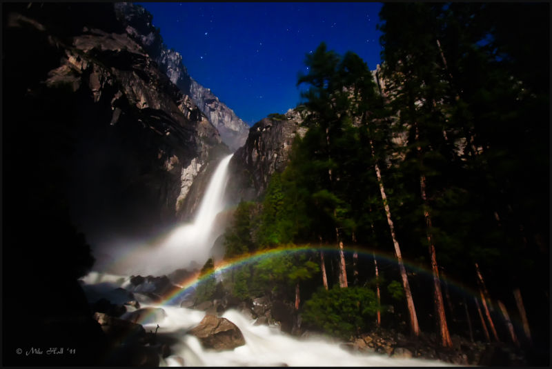 View of lunar rainbow at Lower Yosemite Falls