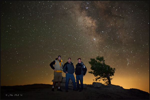On top of Sentinel Dome in Yosemite at night