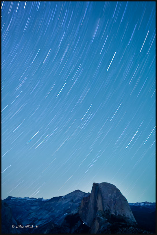 Half Dome in Yosemite under the stars
