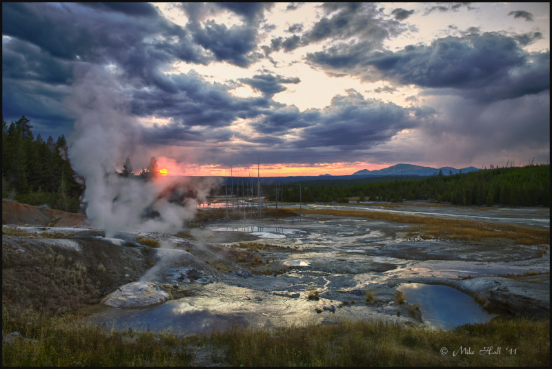 Sunset at Norris Geyser Basin in Yellowstone