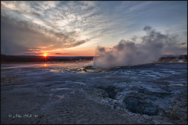 Sunset over Clepsydra Geyser